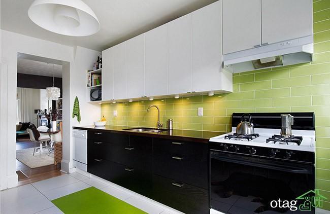 کابینت های گلاس سفید مشکی در آشپزخانه های مدرن ایرانی